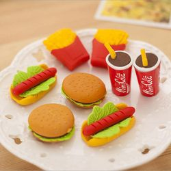 Wholesale! Cute Kawaii Cake Hamburger Food Drink Coke Eraser Set Stationery School Office Erase Supplies Fruit Kids Gift