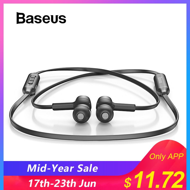 Baseus S06 Bluetooth Earphone Wireless Magnetic Neckband Earbuds Handsfree Sport Stereo Earpieces For Samsung Xiaomi With MIC