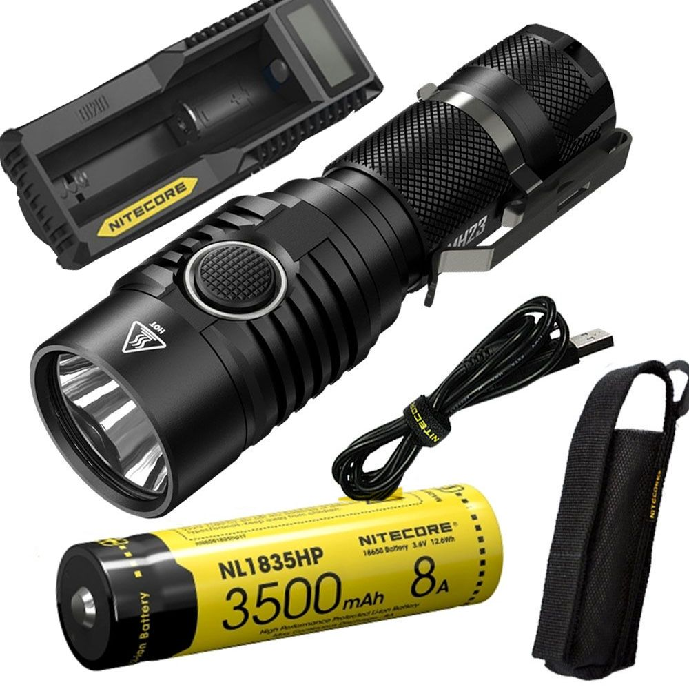 NITECORE MH23 Outdoor flashlight CREE XHP35 HD LED max 1800LM beam distance 294 meter tactical torch + battery + charger
