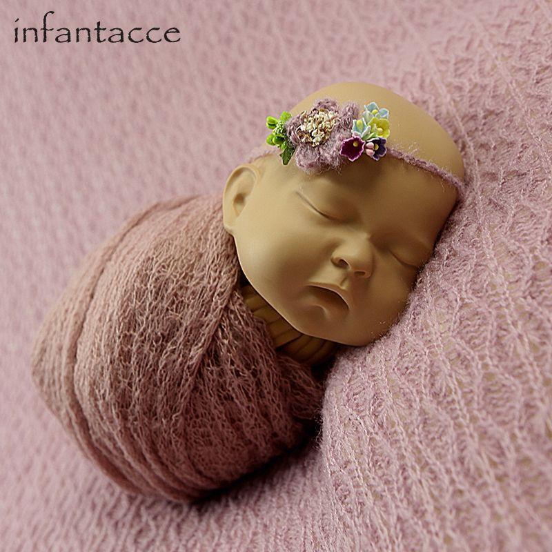 newborn backdrop blanket+wrap+headband set Newborn photography props blanket wraps hammock wrap-props baby flower headband