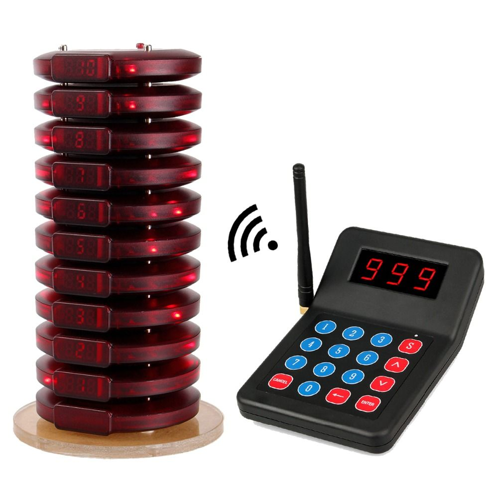 999 Channel Restaurant Pager Wireless Calling System 10 Coaster Pager+1 Transmitter Customer Service For Fast Food