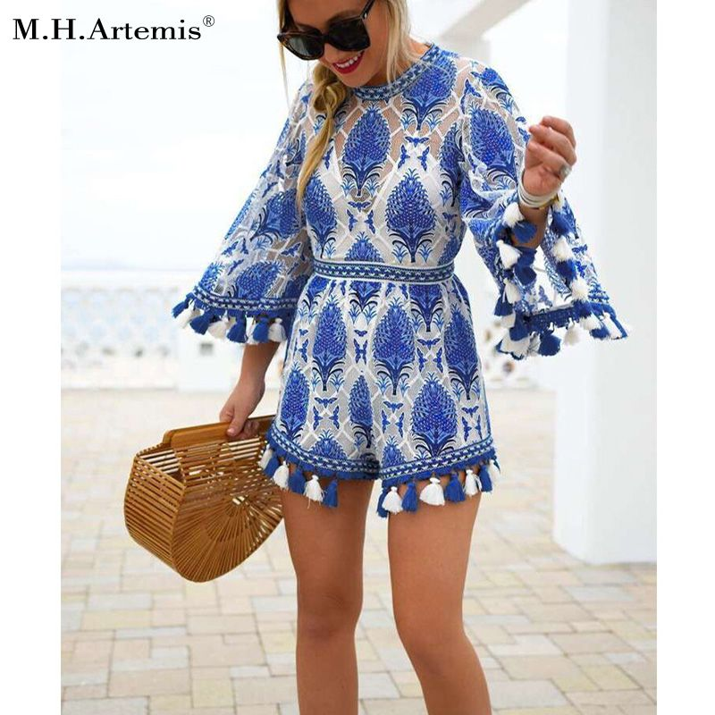 M. H. Artemis Vintage Dentelle Broderie glands Boho chic Flare manches salopette barboteuse salopette streetwear Sexy combishort justaucorps