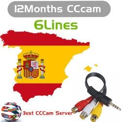 Europa cable HD 1 año CCCam para Satellite tv receptor 6 Clines WIFI FULL HD DVB-S2 soporte españa cline CCCC servidor