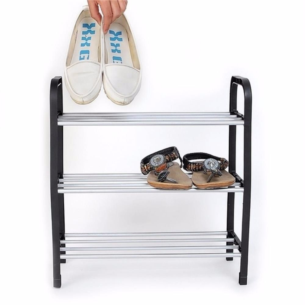Hot sell multilayer  Superior 3 Tiers Plastic Shoes Rack Storage multi-function Organizer Stand Shelf Holder woven simple shoe