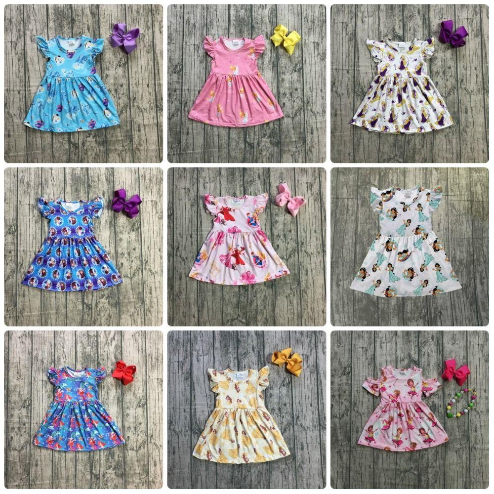 new arrivals summer baby girls children clothes short sleeve kenn length dress milk silk princess match accessory kids boutique