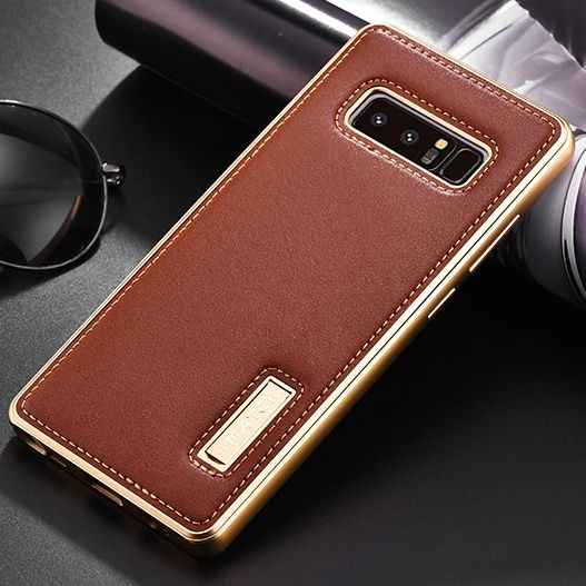 Original iMatch Case For Samsung Galaxy Note 8 Luxury Genuine Leather Case & Aluminum Metal Bumper Back Cover For Samsung Note 8