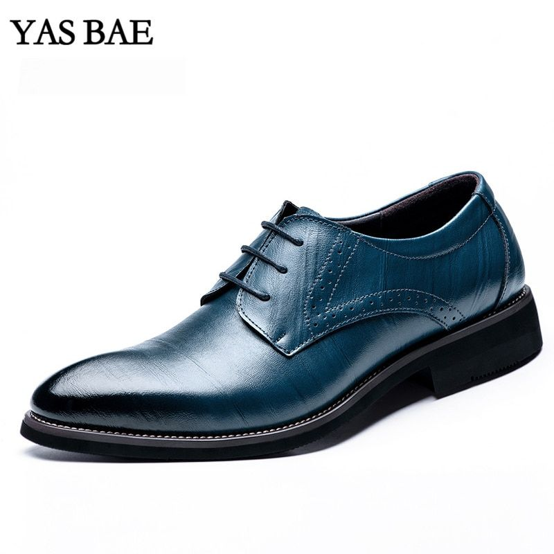 Male China Brand italian Fashion Style Leather Dress Office Social Formal Shoes Patent Leather Blue Brown Cheap Footwear for Men