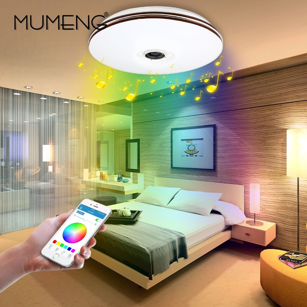 mumeng LED Ceiling Light Modern RGB Living Room Luminaria 32W Bluetooth Speaker Lustre Music Party Lamp Acrylic Bedroom Fixture