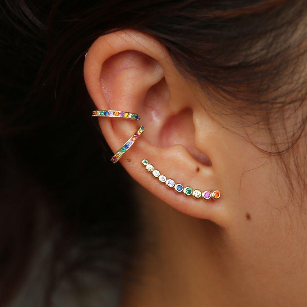 Fine 925 argent sterling délicate boucle d'oreille design minimal délicat couleur or coloré arc-en-ciel cz femmes multi piercing boucles d'oreilles