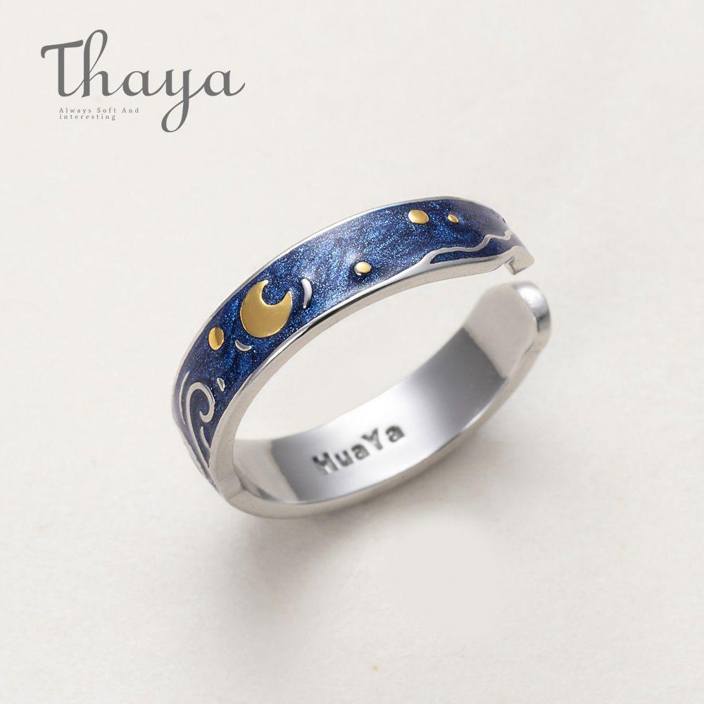Thaya véritable Van Gogh émail anneaux bijoux 925 argent paillettes cerf ciel or lune étoile toile bague romantique pour les femmes