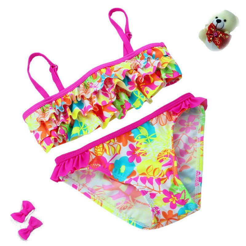2018 neue sommer Europäischen und Amerikanischen Stil Blumen Bikini kinder Bademode Mädchen Split Bikini Kinder Kuchenschicht Badeanzug