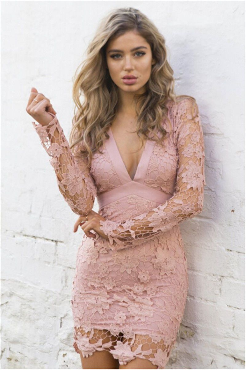 Womens Sexy V-Neck Lace Full Sleeve bodycon dresses Party Cocktail Summer Sexy Mini Dress Elegant Lace slim ceremonial dress