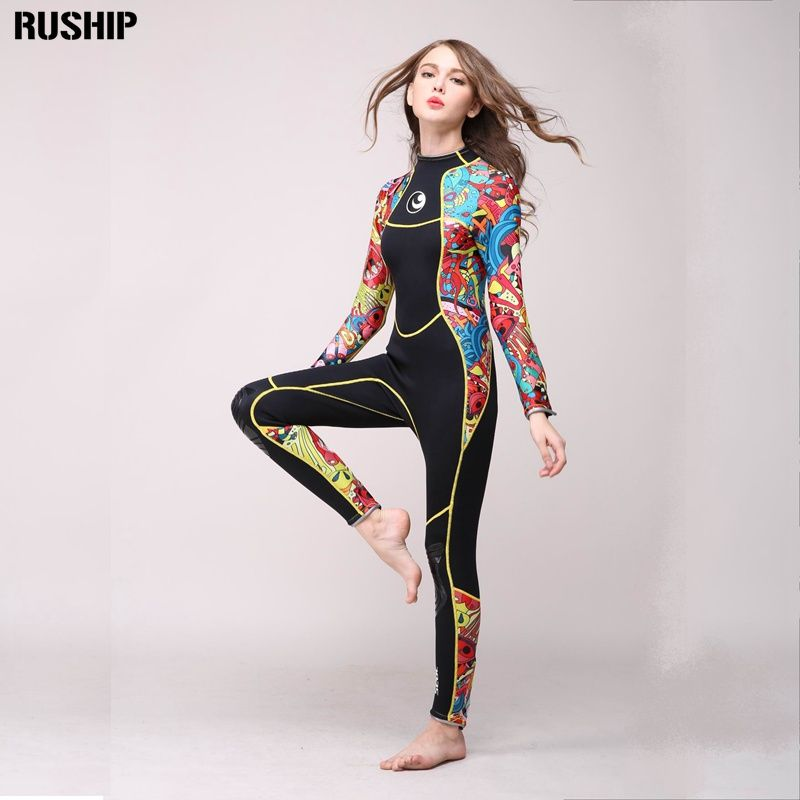 SEAC High quality 3mm women neoprene wetsuit color stitching Surf Diving Equipment Jellyfish clothing long-sleeved piece fitted