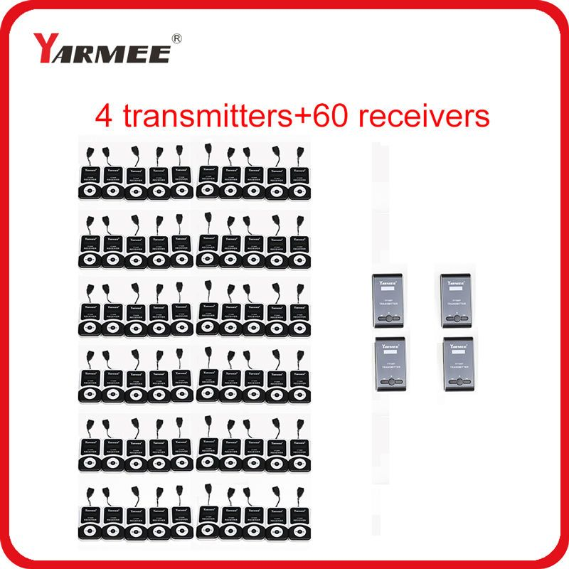 YARMEE 60 Receivers 4 Transmitters YT100 Audio Guide System Wireless Tour Guide System Whisper Radio Equipment for Museum