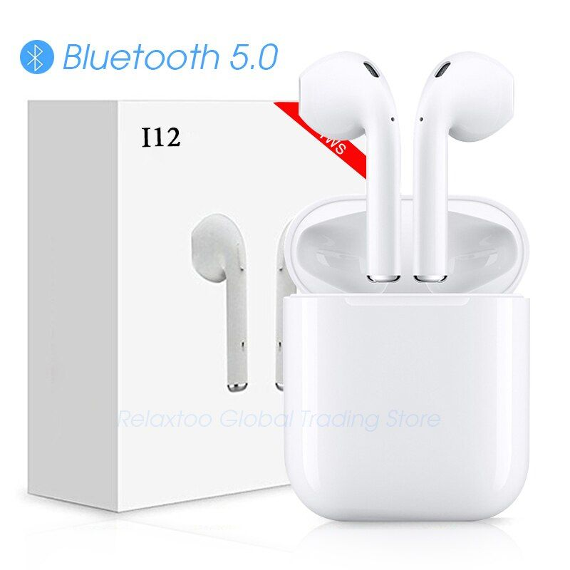 i12 tws Bluetooth Earphone Wireless earphones Touch control Earbuds 3D Surround Sound & Charging case for iPhone Android phone