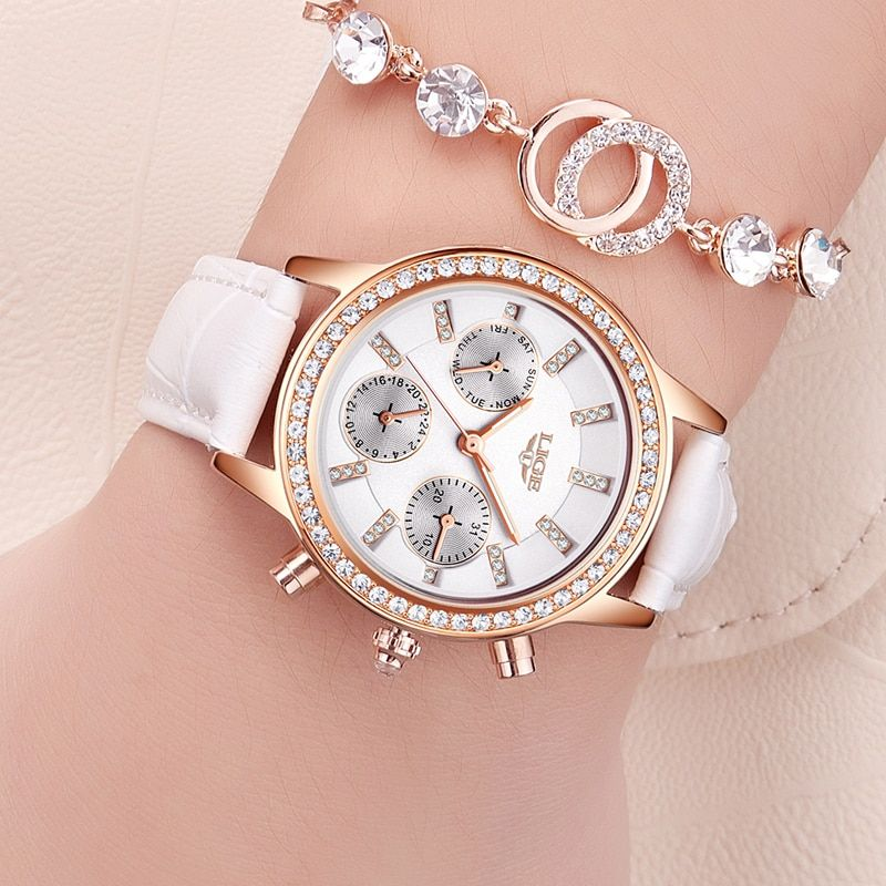 Relogio feminino Women Watches LIGE Luxury Brand Girl <font><b>Quartz</b></font> Watch Casual Leather Ladies Dress Watches Women Clock Montre Femme