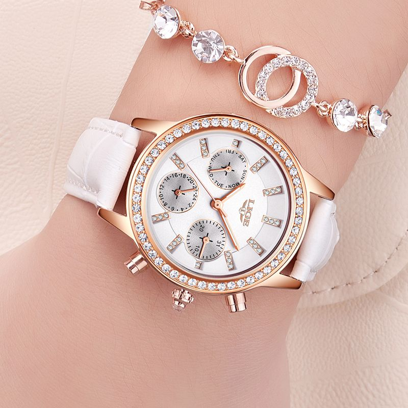 Relogio <font><b>feminino</b></font> Women Watches LIGE Luxury Brand Girl Quartz Watch Casual Leather Ladies Dress Watches Women Clock Montre Femme