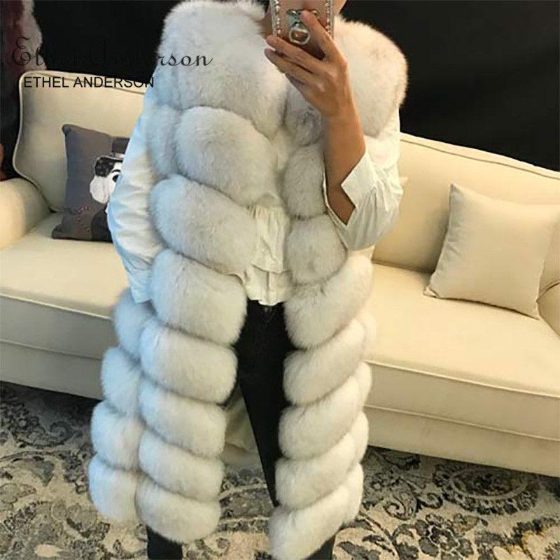 NEW Design Women's Real Long Fox Fur Vest Thick Autumn Winter Whole Skin Natural Fox Fur Gilet Genunie Fur Jacket Waistcoat