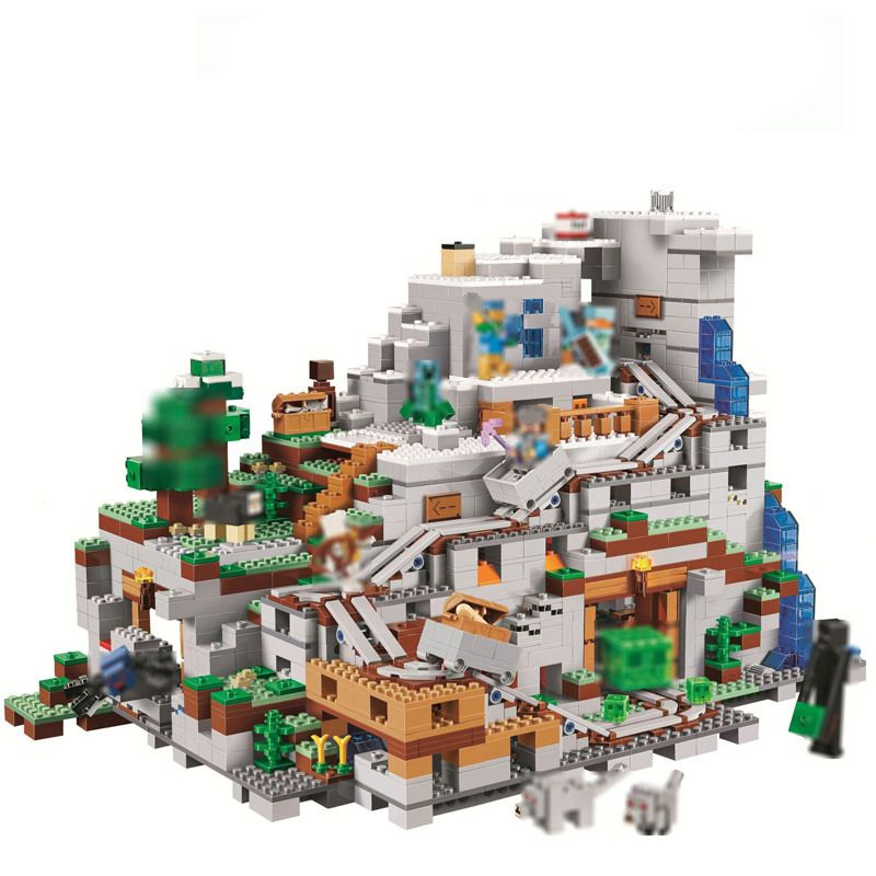 2886Pcs Minecrafted Figures The Mountain Cave Model Building Kits Blocks Bricks Toy For Children Gift Compatible 21137 Big set