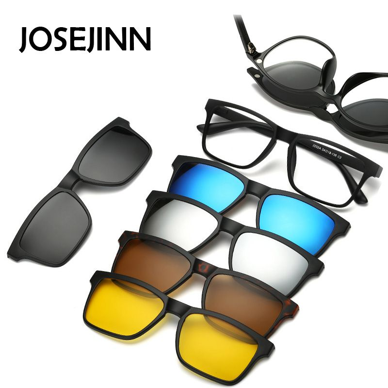 5+1 suit Fashion Clip On Sunglasses Women Frames Clips Magnetic Sunglasses Magnet eyeglasses men Clip glasses 6 in 1