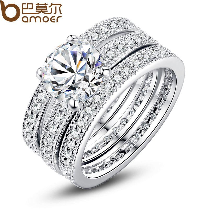 Bamoer lujo de la marca de moda de color plata nupcial conjunto anillo para las mujeres con yir031 pavimentada micro zircon crystal joyería de la boda