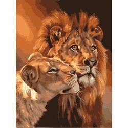 Безрамное животное лев DIY живопись комплекты номеров окраска маслом на холсте Рисунок домашнее произведение искусства картина Картина
