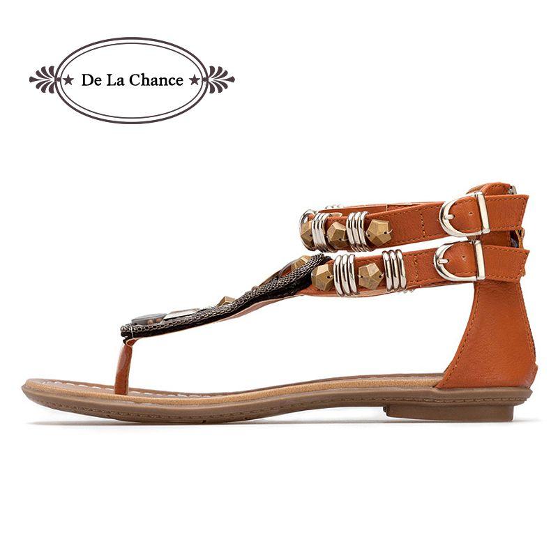 Nouvelles femmes gladiateur romain indien Style ethnique en cuir appartements sandales chaussures gladiateur sandales femmes Sexy Stud femmes chaussures plates
