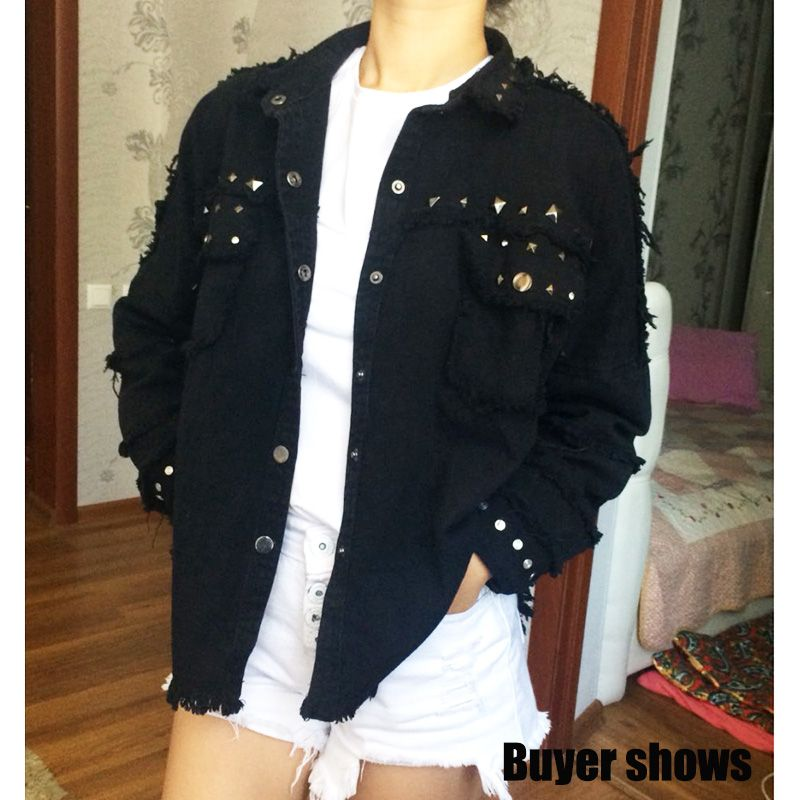 2018 Fashion Spring denim jacket women black Rivet Frayed women's jean jacket Long Sleeve women basic coats Try everything