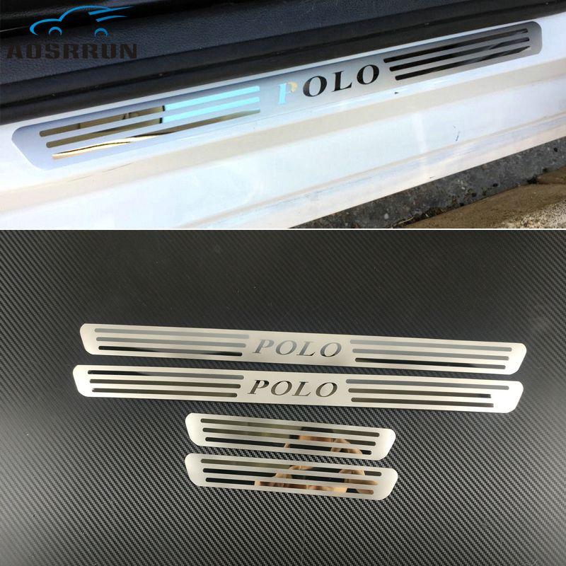 Garniture de seuil de porte en acier inoxydable pour porte latérale en acier inoxydable pour VW VOLKSWAGEN POLO 2009 2010 2011-2017