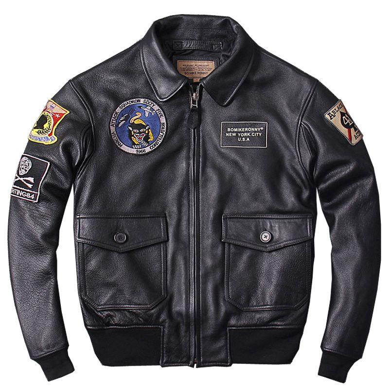 HARLEY DAMSON Black Men Military Genuine Pilot Leather Jacket Plus Size 3XL Thick Cowhide Winter CAV-59 Flight Leather Coat