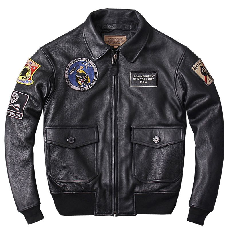HARLEY DAMSON Black Men Military Genuine Pilot Leather Jacket Plus Size 3XL Thick Cowhide Winter CAV-59 Flight Leather Coat