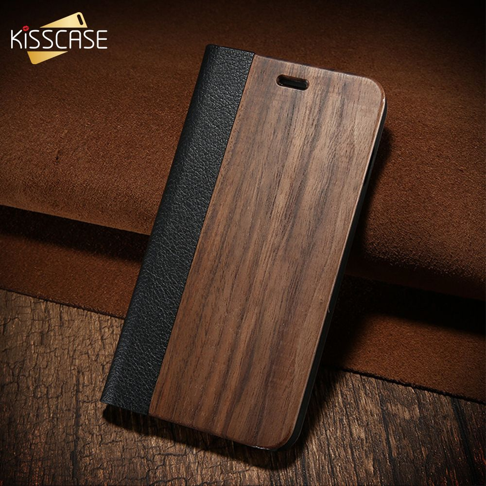 KISSCASE Bamboo <font><b>Flip</b></font> Phone Case For iPhone 5s Se 6 6s Wood Protector Cover For iPhone 7 8 Plus X XR XS Max Card Wallet Covers