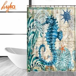 Hyha Marina Cortina de ducha impermeable del poliester tortuga Seahorse 12 Unid Ganchos resistente al moho Bañeras hogar Bañeras Decoración