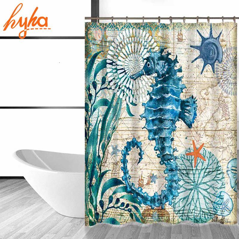 Hyha Marine Polyester Waterproof Shower Curtain Seahorse Turtle 12pc Hooks Mildew Resistant Bath Curtain Home Bathroom Decor