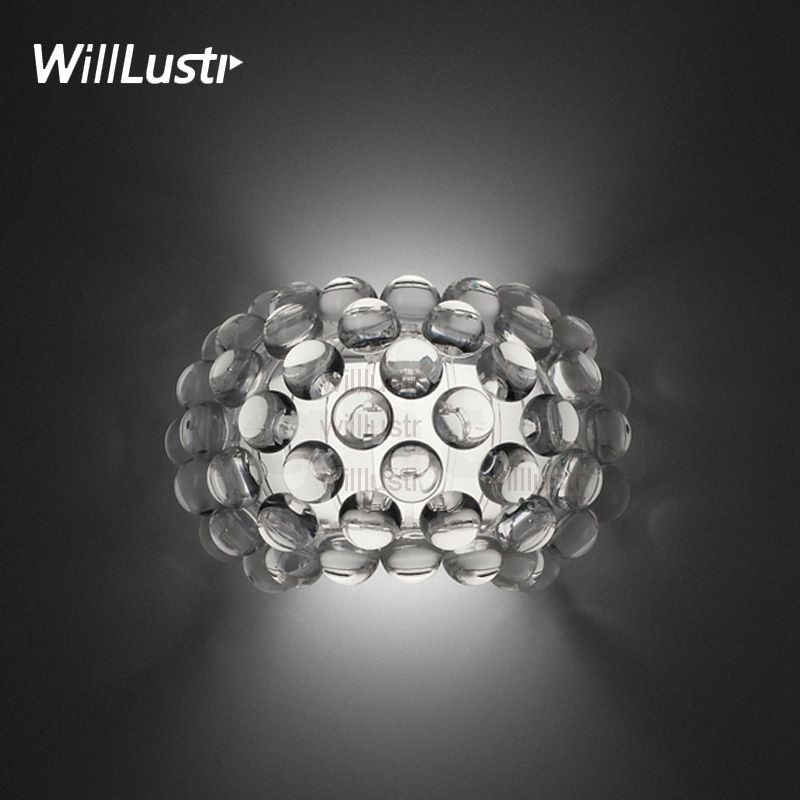 Willlustr Modern Design Light Wall Sconce Acrylic Ball Lighting replica Foscarini Caboche Wall Lamp LED R7S bulb clear gold bead