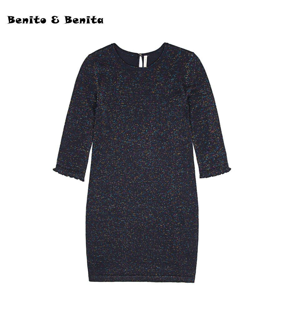 Benito & Benita Girls Pullover Sweater Dress Crew Neck Party Long Sleeve Sweater Dark Blue for 8-13Y