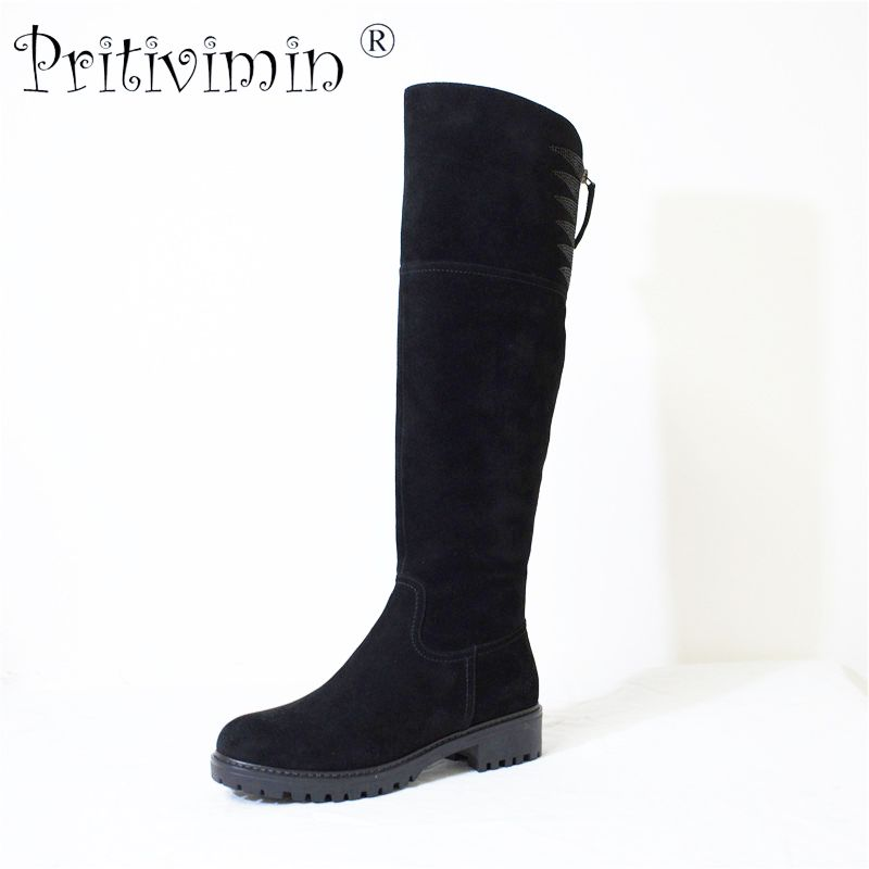 Pritivimin FN73 Ladies kide suede botte femme winter women handmade warm real wool fur lined shoe girl over the knee high boots