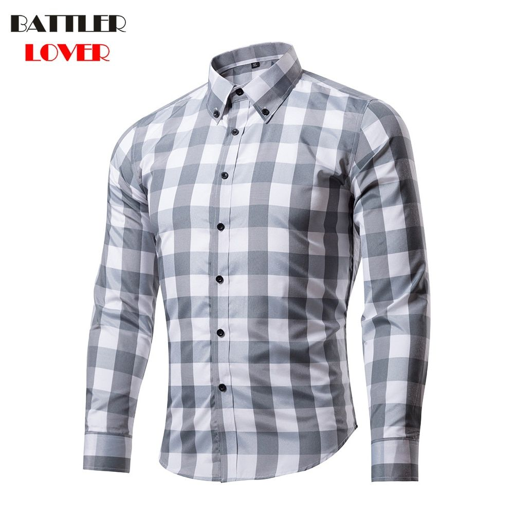 BATTLERLOVER Hombres Camiseta Slim Fit Camisa A Cuadros de Rejilla de la Camisa de Manga Larga Casual Camisas Hombre camisa Chemise Homme Para Hombre Camisas De Vestir De Marca