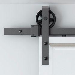 150 cm-300 cm Vintage Industrielle Roue Coulissante Grange Porte En Bois Intérieur Placard Porte Cuisine Rail De Porte Kit Piste système Matériel