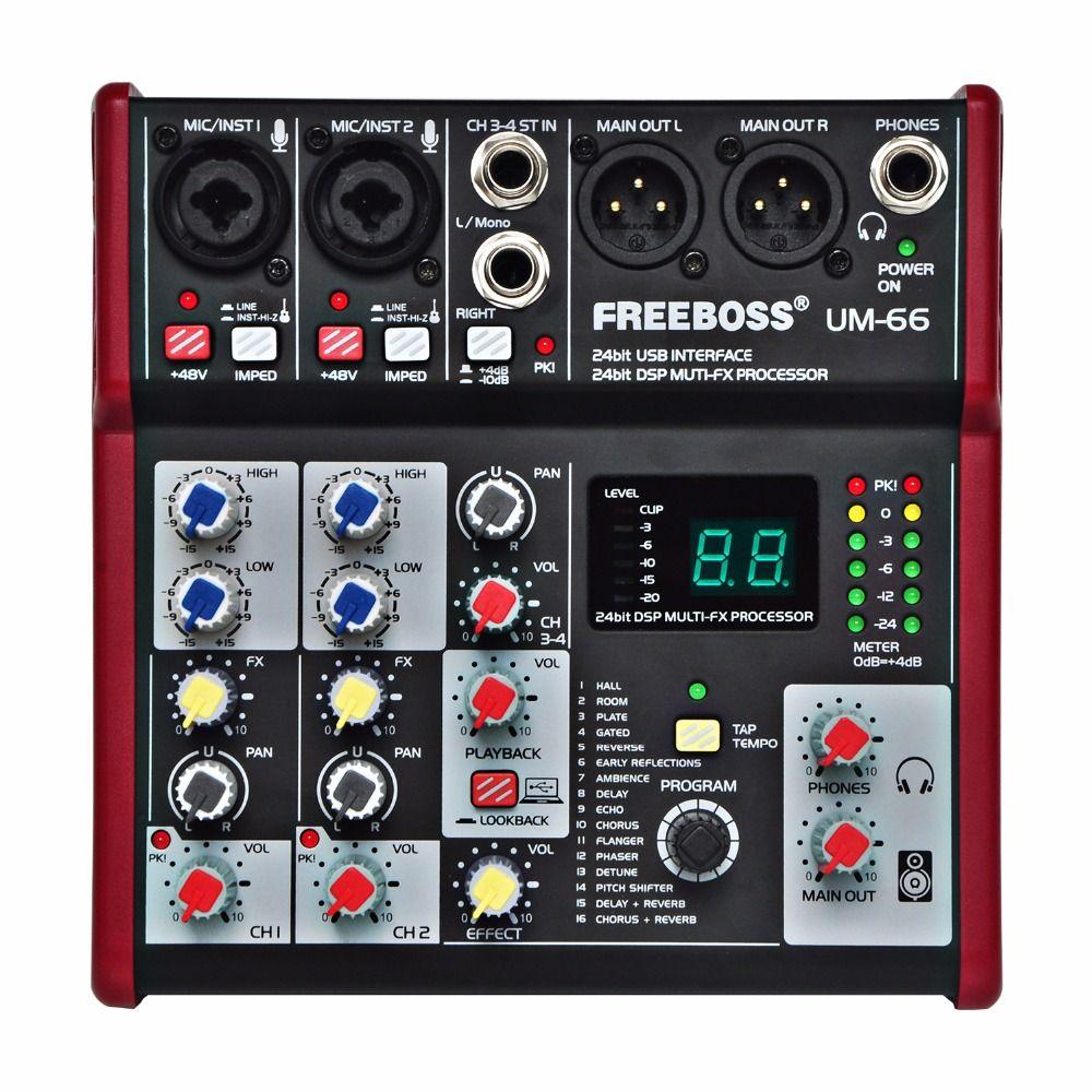 Freeboss UM-66 4 Canaux 16 Effets Numériques 24 Bits Dsp Processeur Carte Son (salle Chambre Plaque Retard Echo) enregistrement Audio Mélangeur