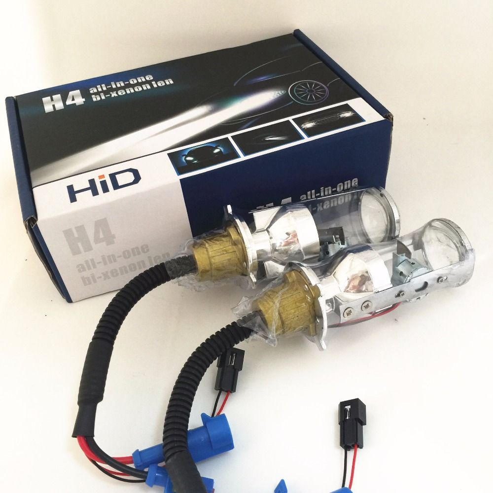 2x 35W Automobile H4 9003 HB2 Hi/Lo Beam Spotlight Projector Lens HID Replacement Headlight Fog Light Lamp Bulb White