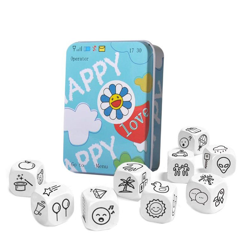 Story Dice Puzzle Board Game Telling Story Metal Boxes Family/Party/Friends Parents with Children Funny English Game