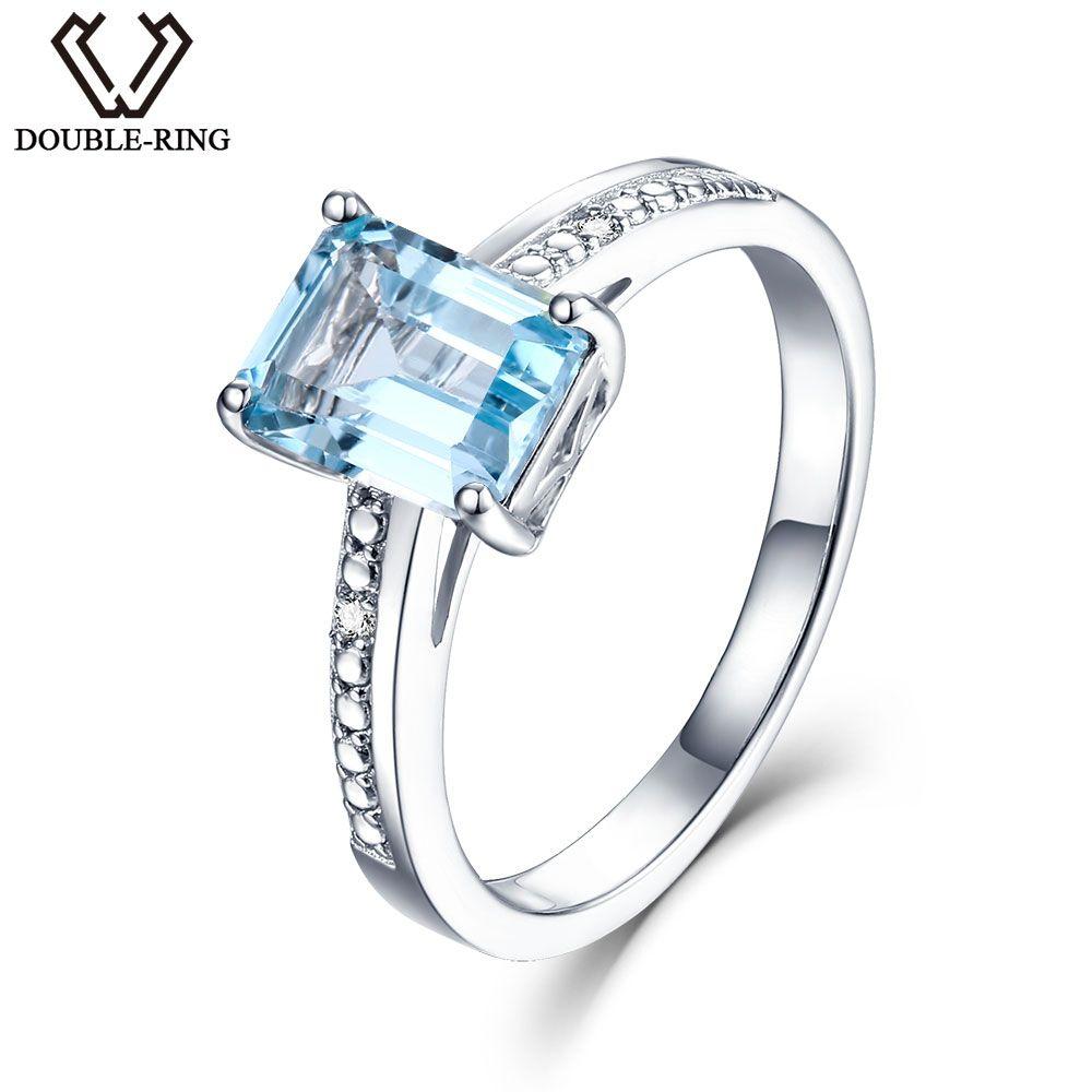 DOUBLE-R Vrai Diamant 1.9ct Naturel Topaze Bleue 925 bagues en argent sterling Broderie