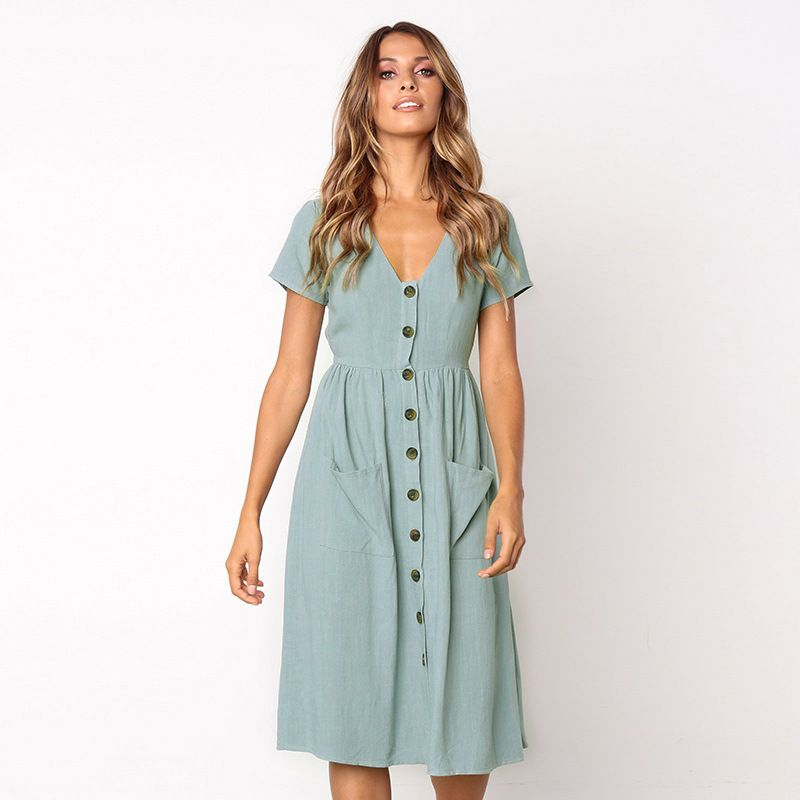 Women's Fashion Summer Elegant <font><b>Dresses</b></font> Short Sleeve V Neck Button Decorative Swing Midi <font><b>Dress</b></font> with Pockets