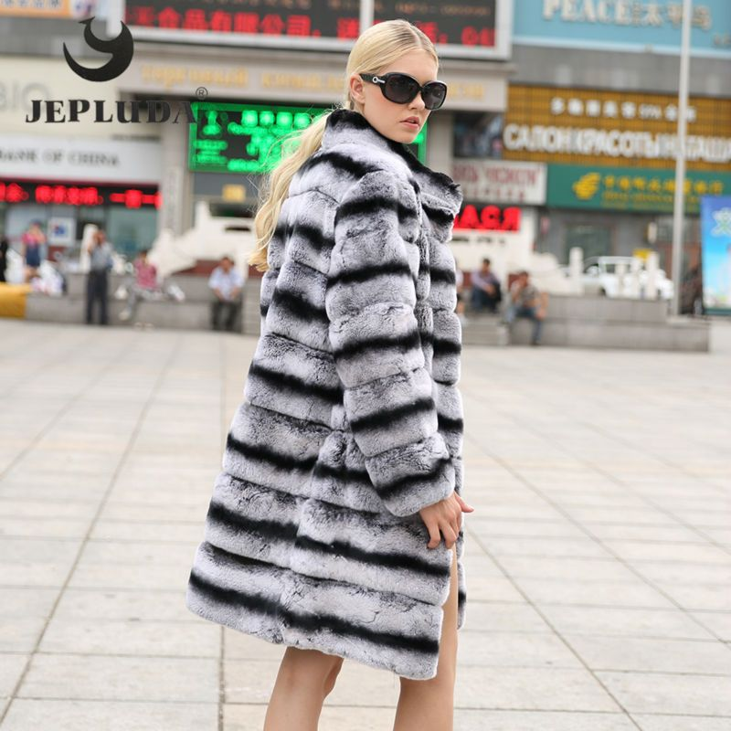 JEPLUDA New Fashion Rex Rabbit Coat Mandarin Collar Long Sleeve Thick Warm Fur Winter Women Real Fur Coat Winter Jacket Women