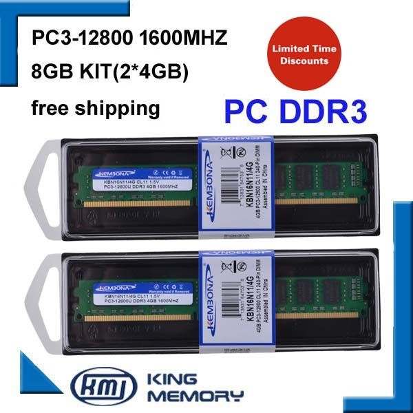 KEMBONA shipping free DDR3 8GB 1600mhz (Kit of 2,2X 4GB DDR3 for Dual Channel) PC3-12800 full compatible with all motherboard