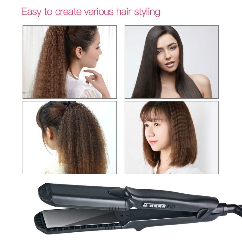 4 size Waves plates Flat Iron Ceramic Corrugated Temperature Control Hair Curling Iron Hair Curler Styler Styling Tools 100-240V