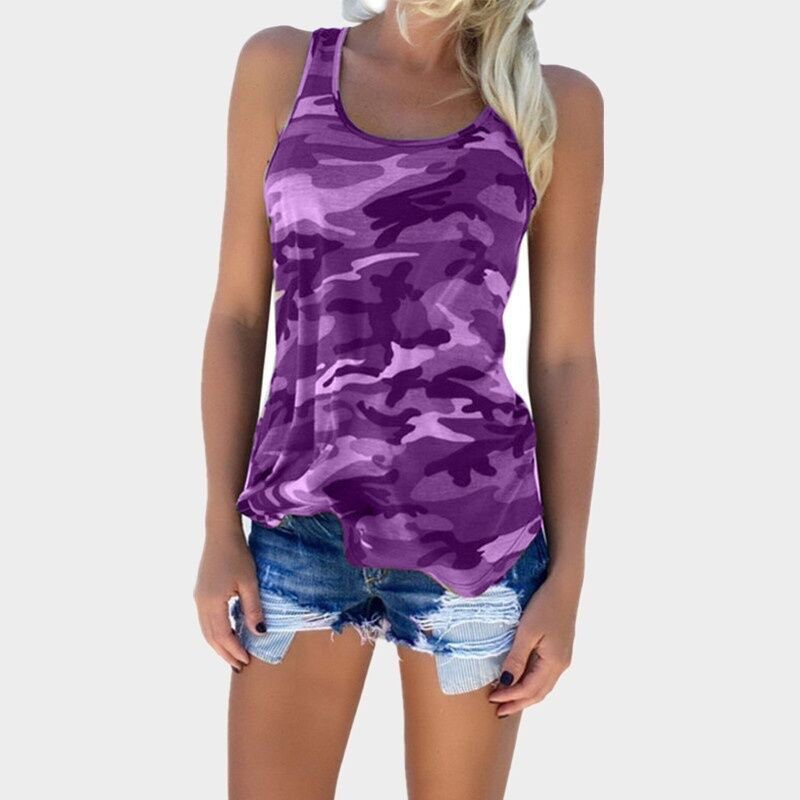 2019 Women Tee Camo Army Green Casual Tank Tops Sleeveless Girl T-shirt For Wholesale Camouflage Tanks