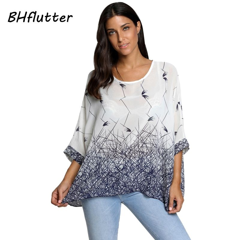 BHflutter Women Blouses Summer Tops Tees New Style 2018 Batwing Casual Chiffon Blouse Shirt 4XL 5XL 6XL Plus Size Women Clothing