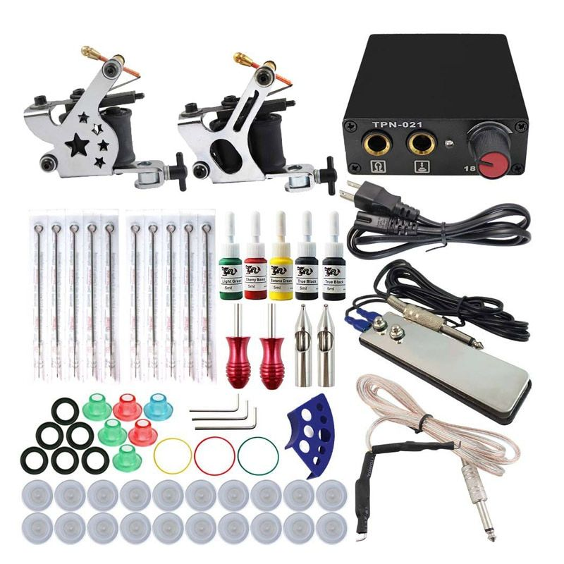 Complete Tattoo Machine Kit Set 2 Coils Guns 5 Colors Black Pigment Sets Power Tattoo Beginner Grips Kits Permanent Makeup
